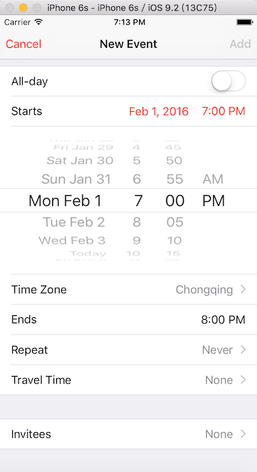 How to implement inline date picker
